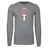 Grey Long Sleeve T Shirt-Vintage Owl Atop T