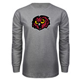 Grey Long Sleeve T Shirt-Owl Head