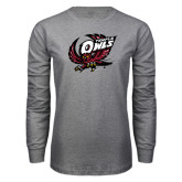 Grey Long Sleeve T Shirt-Swooping Owl