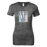 Next Level Ladies Junior Fit Dark Grey Burnout Tee-Box T Foil