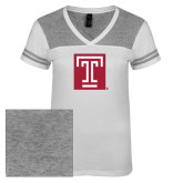 Ladies White/Heathered Nickel Juniors Varsity V Neck Tee-Box T