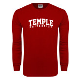 Cardinal Long Sleeve T Shirt-Arched Temple University
