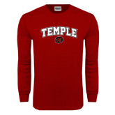 Cardinal Long Sleeve T Shirt-Arched Temple w/ Owl Head