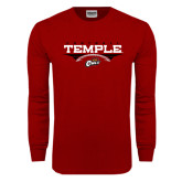 Cardinal Long Sleeve T Shirt-Temple Football Over Football