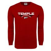 Cardinal Long Sleeve T Shirt-Temple Football Over Football