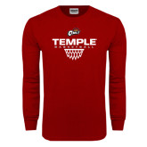 Cardinal Long Sleeve T Shirt-Temple Basketball Stacked w/Net Icon