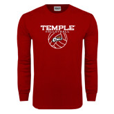 Cardinal Long Sleeve T Shirt-Temple Volleyball Stacked