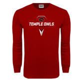 Cardinal Long Sleeve T Shirt-Temple Owls Lacrosse w/Lacrosse Stick