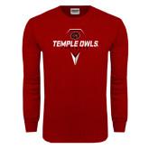 Cardinal Long Sleeve T Shirt-Temple Owls Lacrosse w/Lacrosse Stick