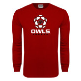 Cardinal Long Sleeve T Shirt-Owls Soccer Geometric Ball