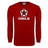 Cardinal Long Sleeve T Shirt-Owls Soccer Geometric Ball