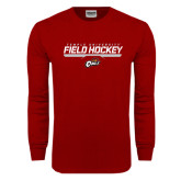 Cardinal Long Sleeve T Shirt-Temple University Field Hockey Stencil