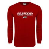 Cardinal Long Sleeve T Shirt-Temple University Field Hockey Stencil