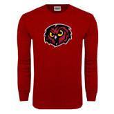 Cardinal Long Sleeve T Shirt-Owl Head Distressed