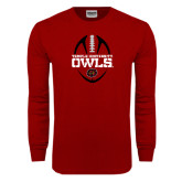 Cardinal Long Sleeve T Shirt-Temple University Owls Football Vertical