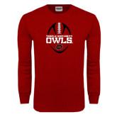 Cardinal Long Sleeve T Shirt-Temple University Owls Football Vertical