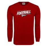 Cardinal Long Sleeve T Shirt-Football Slanted