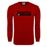 Cardinal Long Sleeve T Shirt-Temple Football Stacked w/Bar