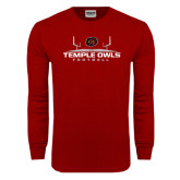 Cardinal Long Sleeve T Shirt-Temple Owls Football w/Field