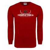 Cardinal Long Sleeve T Shirt-Temple Owls Football w/Field