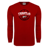 Cardinal Long Sleeve T Shirt-Temple Basketball Arched w/Ball