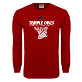 Cardinal Long Sleeve T Shirt-Temple Owls Womens Basketball w/Net
