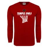 Cardinal Long Sleeve T Shirt-Temple Owls Womens Basketball w/Net