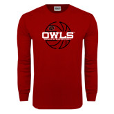 Cardinal Long Sleeve T Shirt-Owls Womens Basketball w/Lined Ball
