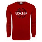 Cardinal Long Sleeve T Shirt-Owls Womens Basketball w/Lined Ball