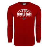Cardinal Long Sleeve T Shirt-Temple Owls Basketball Half Ball