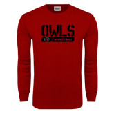 Cardinal Long Sleeve T Shirt-Owls Basketball Stencil w/Bar