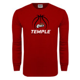 Cardinal Long Sleeve T Shirt-Temple Basketball Stacked w/Contours