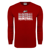 Cardinal Long Sleeve T Shirt-Temple University Basketball Repeating