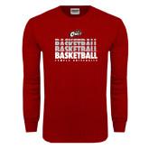 Cardinal Long Sleeve T Shirt-Temple University Basketball Repeating