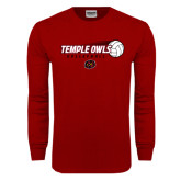 Cardinal Long Sleeve T Shirt-Temple Owls Volleyball w/Flying Ball