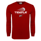 Cardinal Long Sleeve T Shirt-Temple Lacrosse Modern