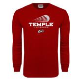 Cardinal Long Sleeve T Shirt-Temple Lacrosse Modern