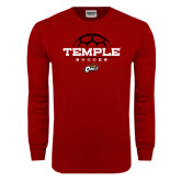 Cardinal Long Sleeve T Shirt-Temple Soccer Half Ball