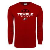 Cardinal Long Sleeve T Shirt-Temple Soccer Half Ball