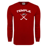 Cardinal Long Sleeve T Shirt-Temple Field Hockey Crossed Sticks