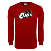 Cardinal Long Sleeve T Shirt-Owls w/Owl Head