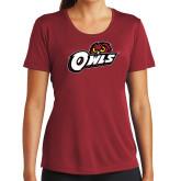 Ladies Syntrel Performance Cardinal Tee-Owls w/Owl Head