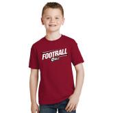 Youth Cardinal T Shirt-Football Slanted