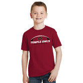 Youth Cardinal T Shirt-Temple Owls Football Under Ball