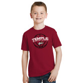 Youth Cardinal T Shirt-Temple Basketball Arched w/Ball