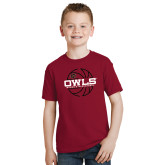 Youth Cardinal T Shirt-Owls Womens Basketball w/Lined Ball