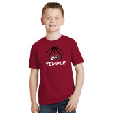 Youth Cardinal T Shirt-Temple Basketball Stacked w/Contours