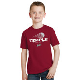 Youth Cardinal T Shirt-Temple Lacrosse Modern