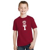 Youth Cardinal T Shirt-Vintage Owl Atop T
