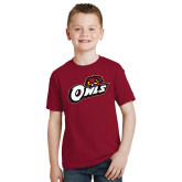 Youth Cardinal T Shirt-Owls w/Owl Head